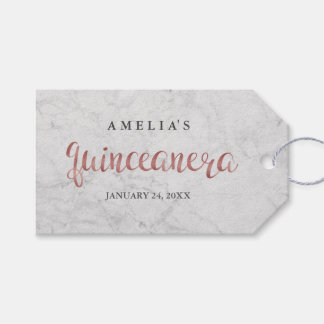 Marble Faux Rose Gold Quinceanera Tags
