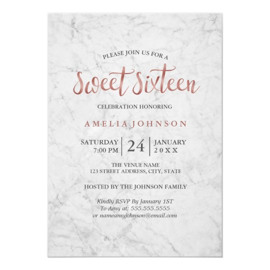 Marble Faux Rose Gold Sweet Sixteen Invitation