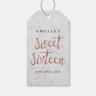 Marble Faux Rose Gold Sweet Sixteen Tags