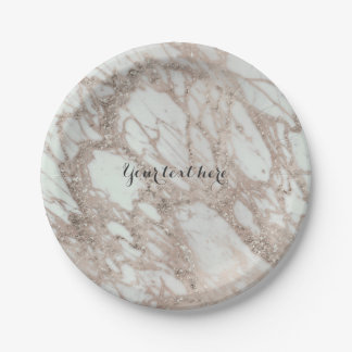 Marble Glam Rose Pink Gold Silver Designer Style 7 Inch Paper Plate