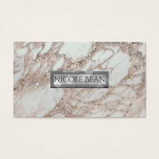 Marble Glam Rose Pink Gold Silver Designer Style Business Card