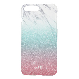 Marble & Glitter Ombre Turquoise Pink Monogram iPhone 8 Plus/7 Plus Case
