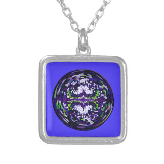 Marble globe on a dark blue background silver plated necklace