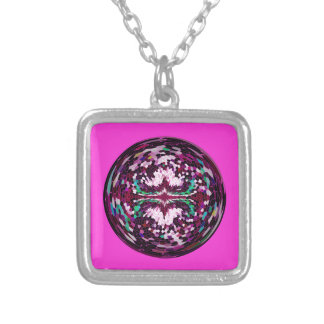 Marble Globe on Magenta background. Silver Plated Necklace
