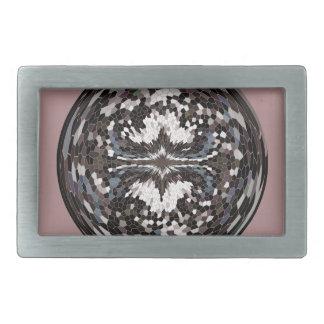 Marble globe on pink rectangular belt buckles