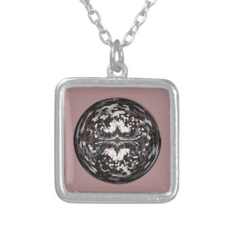 Marble globe on pink silver plated necklace