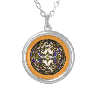 Marble globe on yellow silver plated necklace