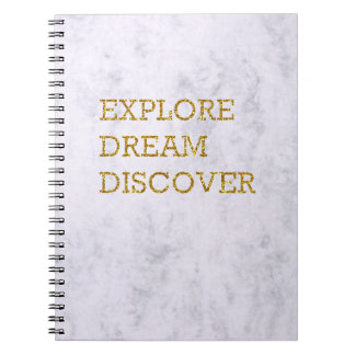 Marble, Gold Lettering Notebook With Quote