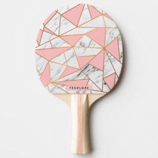 Marble Golden Mosaic Ping Pong Paddle
