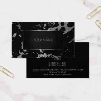 Marble Gray Black Silver Gold Abstract Graphite Business Card