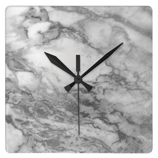 Marble Gray Silver Graphite Carrara Abstract Black Square