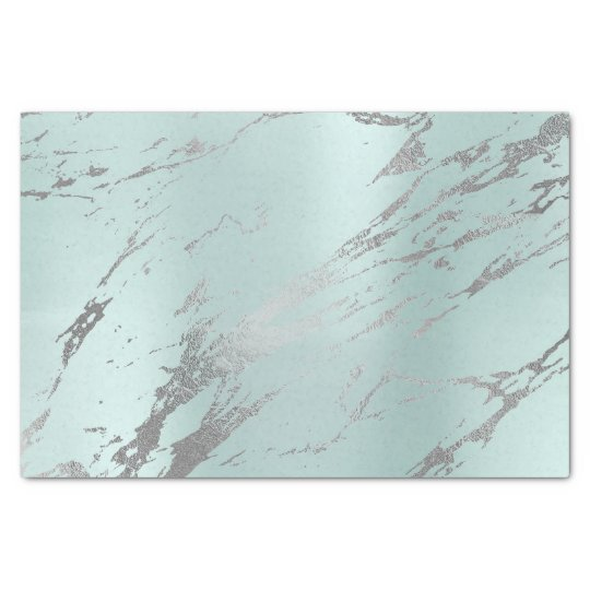 Marble Gray Tiffany Aqua Blue Metallic Silver Tissue