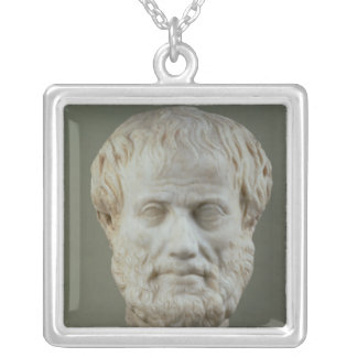 Marble head of Aristotle Silver Plated Necklace