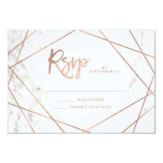 Marble Look and Faux Rose Gold Geometric RSVP Card