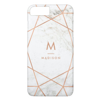 Marble Look with Faux Rose Gold Geometric Pattern iPhone 7 Plus Case