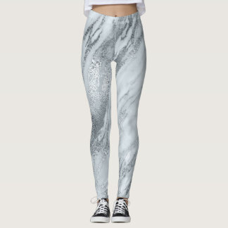 Marble Minimal Abstract Silver Gray Blue Leggings