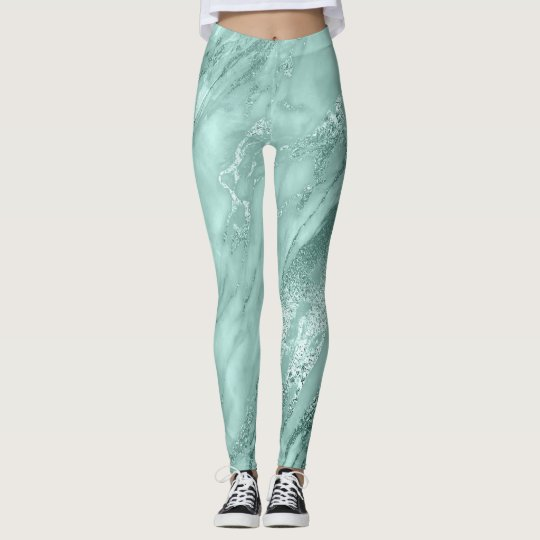 Marble Minimal Abstract Teal Aquatic Blue Leggings