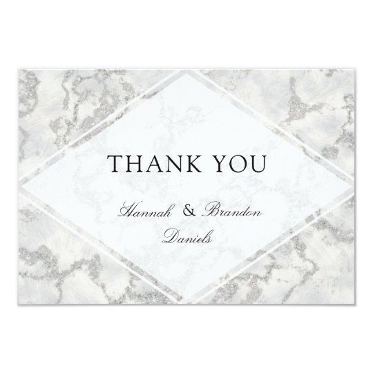 Marble Modern White Thank You Card