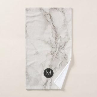 Marble Monogram Black and White Trendy Bath Towel Set