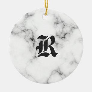 Marble monogram christmas ornament