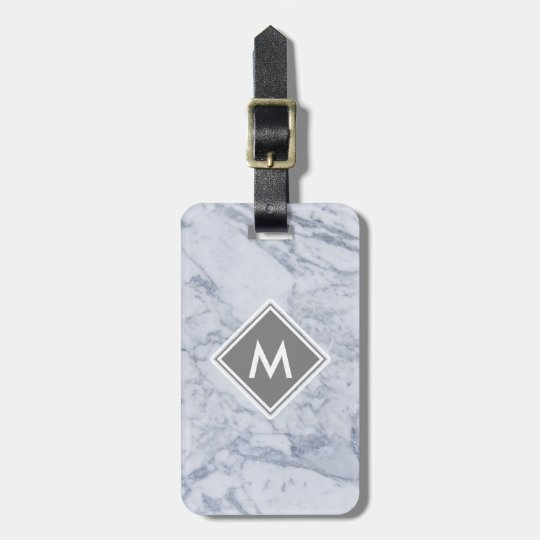 Marble Monogram Luggage Tag w/ leather strap