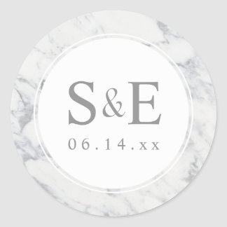 Marble Monogram Wedding Favor Personalized Pattern Round Sticker