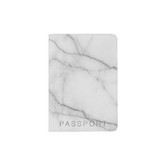 Marble passport holder grey white