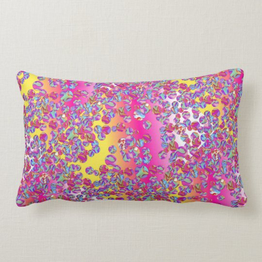Marble Patch allover2 Lumbar Pillow Fuschia/Yellow
