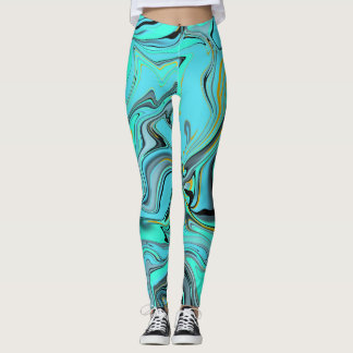 Marble pattern abstract blue and green leggings. leggings