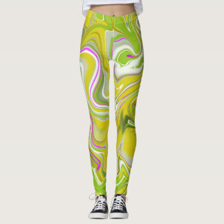 Marble pattern abstract yellow and white leggings. leggings