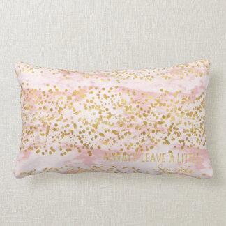 Marble Pink Gold Confetti Sparkle Lumbar Cushion