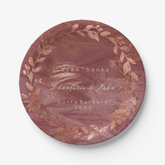 Marble Pink Rose Gold Brush Wreath Luxury Paper Plate