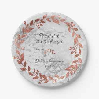 Marble Pink Rose Gold Gray Christmas Paper Plate