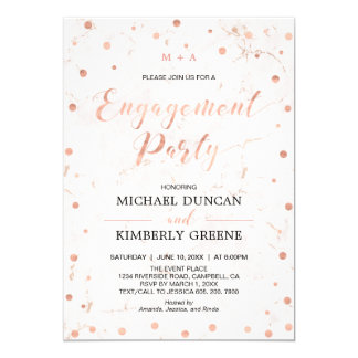 Marble & Polka dot | Rose Gold Engagement Party Card