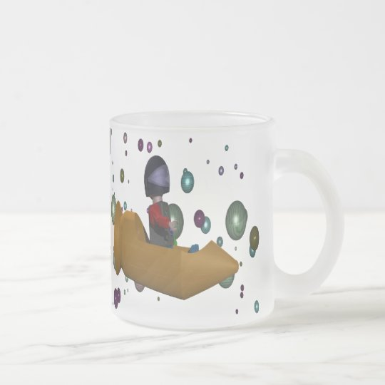 marble rocket frosted glass coffee mug