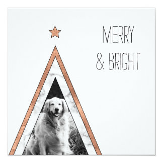 Marble & rose gold Christmas tree greeting card