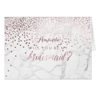 Marble/Rose Gold/Confetti Will You.. Bridesmaid Card