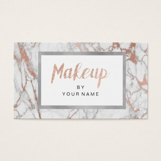 Marble Rose Gold Frame Silver White Makeup Artist