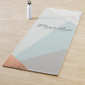 marble, rose gold, grey and blue yoga mat