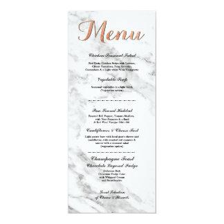 Marble Rose Gold Menu Wedding Reception Cards