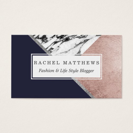 Marble Rose Gold Navy Blue Triangle Geometric Business