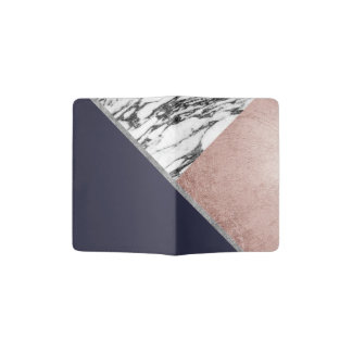 Marble Rose Gold Navy Blue Triangle Geometric Passport Holder