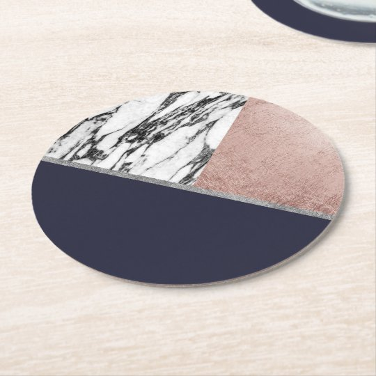 Marble Rose Gold Navy Blue Triangle Geometric Round