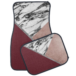 Marble Rose Gold Red Wine Triangle Geometric Car Mat