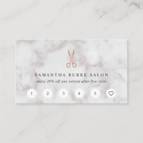 Marble & Rose Gold Scissors Logo | Salon Loyalty Card