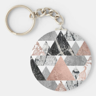 Marble Rose Gold Silver and Floral Geo Triangles Basic Round Button Key Ring