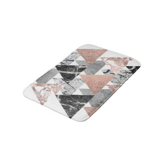 Marble Rose Gold Silver and Floral Geo Triangles Bath Mats