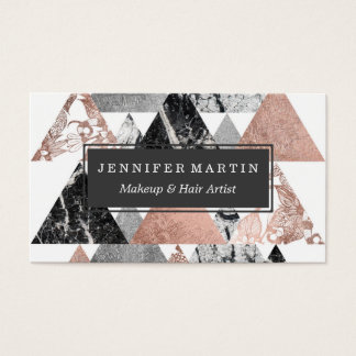 Marble Rose Gold Silver and Floral Geo Triangles Business Card