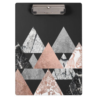 Marble Rose Gold Silver and Floral Geo Triangles Clipboard