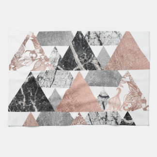 Marble Rose Gold Silver and Floral Geo Triangles Hand Towels